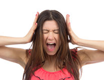 Woman upset screaming or yelling Stock Image
