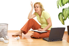 Woman upset and stressed Stock Photos