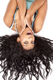 Woman upside down hair out surprise Stock Image