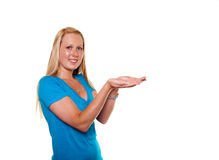 Woman with upturned palms Stock Images