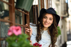 Woman in urban background wearing casual clothes Stock Image
