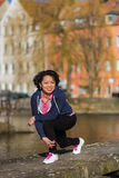 Woman urban sport exercising stock image