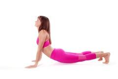 Woman Urdhva Mukha Svanasana, Upward-Facing Dog Yoga Pose. side view. Royalty Free Stock Photo