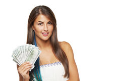 Woman with us dollar money Royalty Free Stock Image
