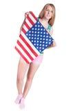 Woman with usa flag Stock Image