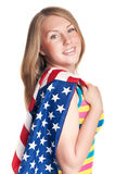 Woman with usa flag Royalty Free Stock Images