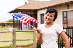 Woman USA flag outdoors Stock Images