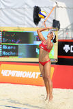 Woman from USA returns ball in Country Quota. MOSCOW - JUNE 6: Woman from USA returns ball in Country Quota at tournament Grand Slam of beach volleyball 2012, on Royalty Free Stock Photography