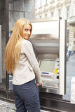 Woman use Bank ATM Stock Photography
