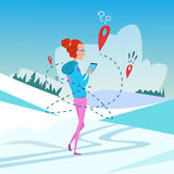 Woman Use Cell Smart Phone Gps Navigation Winter Vacation Snow Mountain Background Royalty Free Stock Image