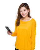 Woman use of cellphone Stock Photography