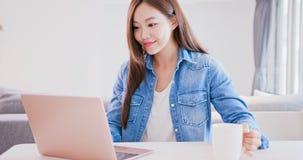 Woman use computer work stock photo