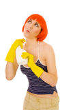 Woman use detergent as deodorant Royalty Free Stock Images
