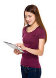 Woman use of digital tablet pc Stock Photo