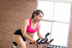 Woman use exercise bike Royalty Free Stock Image
