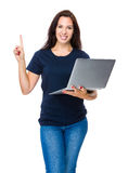 Woman use laptop computer and finger point up Stock Photography