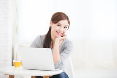 Woman use laptop at home Royalty Free Stock Images