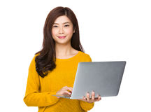 Woman use of laptop Royalty Free Stock Images