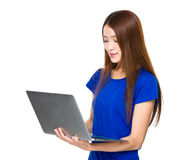 Woman use of laptop Stock Image