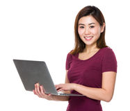 Woman use of laptop Stock Photography