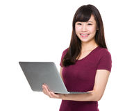 Woman use of laptop Royalty Free Stock Photography