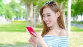 Woman use phone Stock Photography