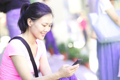 Woman use smartphone Stock Image