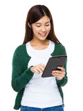 Woman use of tablet computer Stock Photos