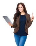 Woman use tablet and finger point up Royalty Free Stock Images