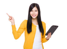 Woman use tablet finger up Royalty Free Stock Photos