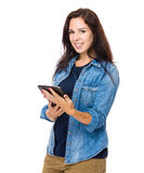 Woman use tablet Stock Images