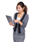 Woman use of tablet Stock Photos