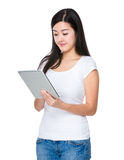 Woman use of tablet Stock Photo