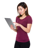 Woman use of tablet Stock Images