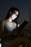 Woman use of tablet pc at home Stock Photography