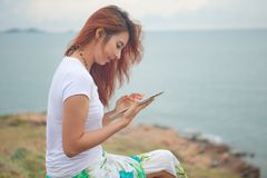 Woman use tablet royalty free stock photography