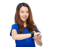 Woman use wearable watch Stock Photo