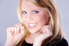 Woman used a dental floss Royalty Free Stock Photos