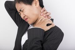Neck with pain. royalty free stock images