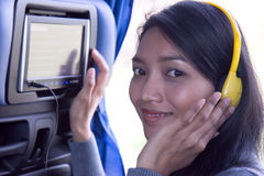 Woman used onboard display on bus. Young woman used onboard display Stock Photo