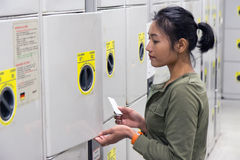 Woman uses safety locker Royalty Free Stock Photography