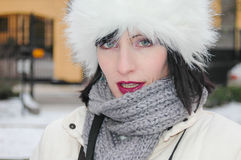Woman with ushanka Stock Photo