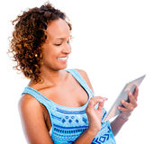 Woman using app on a tablet Stock Photo