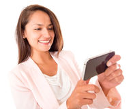 Woman using apps on her phone Stock Photo