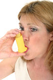 Woman Using Asthma Inhaler 3 Stock Image