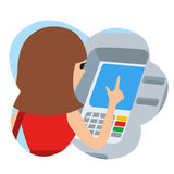 Woman using ATM machine. Vector illustration icone in cloud  white background. Royalty Free Stock Images