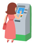 Woman using ATM machine. Vector illustration icone isolated white background. Royalty Free Stock Photo