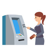 Woman using ATM machine. Vector illustration isolated white background. Stock Photography