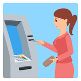 Woman using ATM machine. Vector illustration isolated white background. Royalty Free Stock Images
