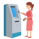 Woman using ATM machine. Vector illustration isolated white background. Stock Photos